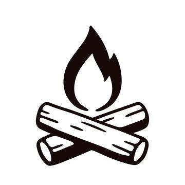 Campfire hand drawn illustration