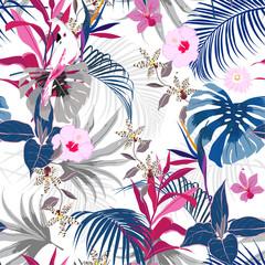 Trendy vector seamless beautiful artistic summer tropical