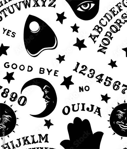 Ouija Board Symbols Pattern Repeat Seamless