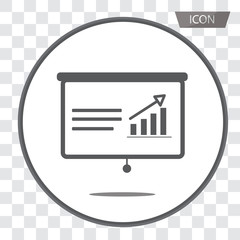 Statistics, accounting vector icons, Charts, presentation and pie chart signs. Analysis, report and business case symbols isolated on transparent background.