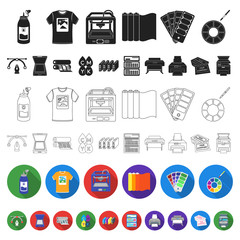 Typographical products flat icons in set collection for design. Printing and equipment vector symbol stock web illustration.