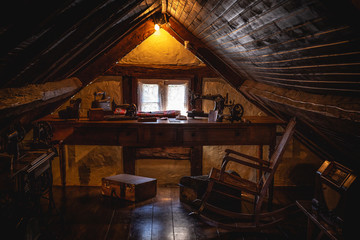 An old attic with antique furniture
