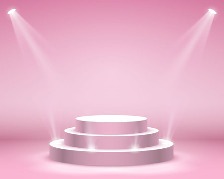 Stage podium with lighting, Stage Podium Scene with for Award Ceremony on pink Background, Vector illustration