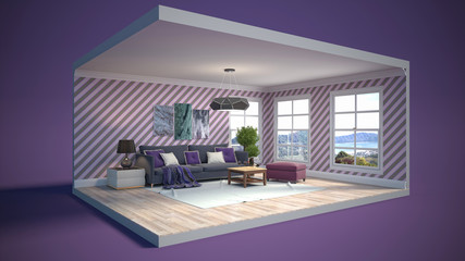 Interior of the living room in a box. 3D illustration