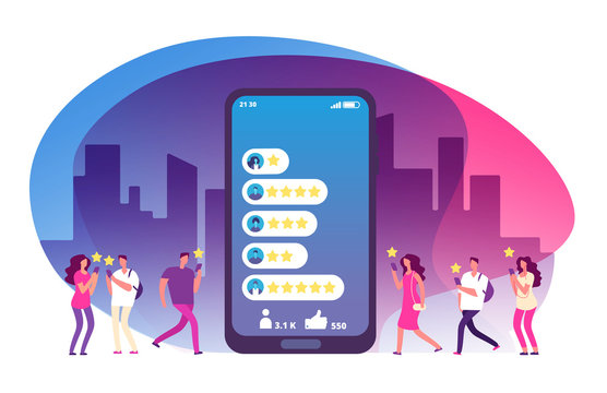 Customer review and feedback. Five stars rating on smartphone screen and clients. Online survey, customers satisfaction vector concept. Illustration of rating review, feedback customer service