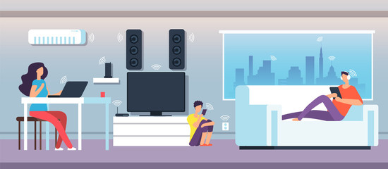 Electromagnetic field in home. People under EMF waves from appliances and devices. Electromagnetic pollution vector concept. Illustration of smart network communication wifi digital