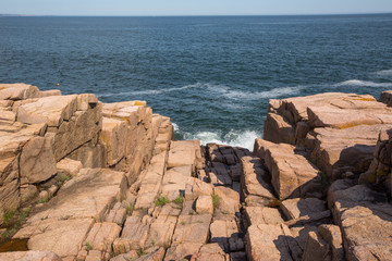 Granite rock in the shore of Acadia National Park, USA