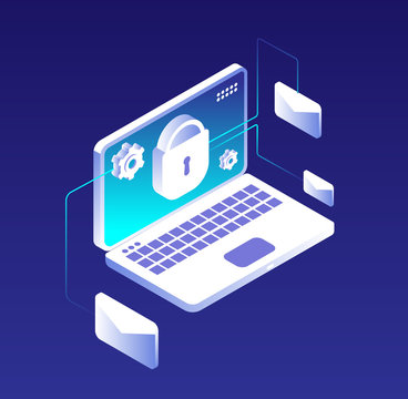 Data protection concept. Email database encryption, computer, information and storage security. Antivirus and vpn vector illustration. Illustration of protection laptop email, security data antivirus