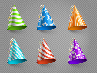 Realistic party hats vector set isolated on transparent background. Illustration of colored hat for party celebration birthday