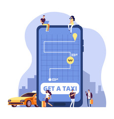 Mobile taxi. Online taxi service and payment with smartphone app. People ordering taxi at huge cell phone. Vector concept online taxi transportation, app mobile service illustration