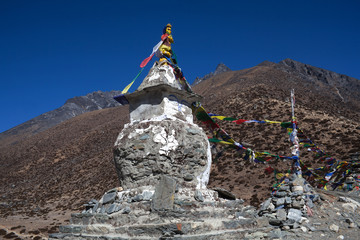 Buddhist stupa above Dingboche on the way to Everest base camp, Nepal