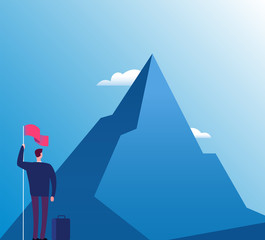 Businessman with flag at mountain. New purpose, success vision and goals achievement, business vector concept. Illustration of businessman purpose target and goal peak