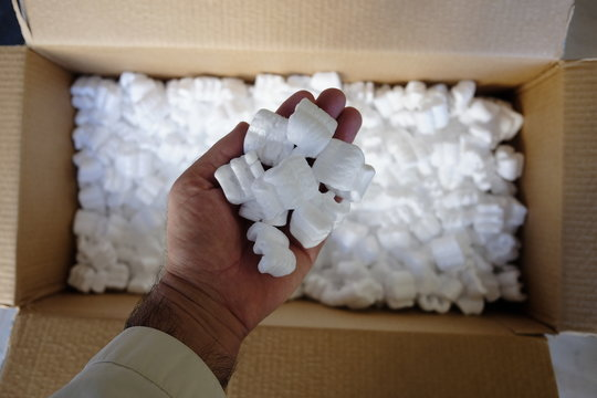 Box with polystyrene for packaging