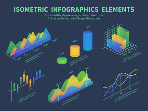 Isometric infographics. Presentation graphics, statistics data layer charts and marketing bar diagrams. 3d isometric vector design. 3d visualization, finance infomation time line illustration