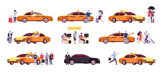 People and taxi. Cab drivers passenger and car in ride. Taxi service isolated icons. Taxi service car, transportation customer illustration