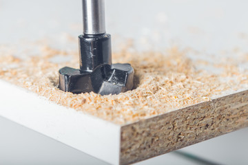 forstner milling cutter in work