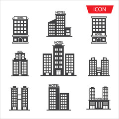Hotel icon set isolated on white background.