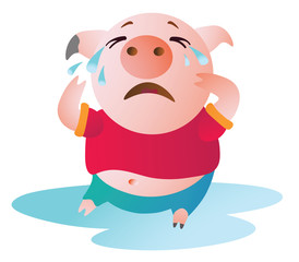 Cartoon Pig sits in a pool of tears and cries. Vector illustration. Symbol of the new year 2019. Isolated on transparent background. Excellent for the design of postcards, posters, stickers etc.