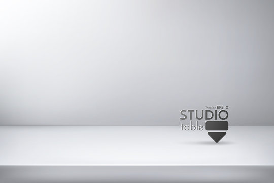 Realistic vector illustration. Studio table for design. White surface with background