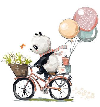 Little panda on bike