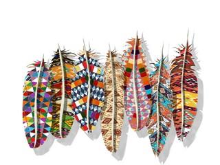 Boho feathes watercolor