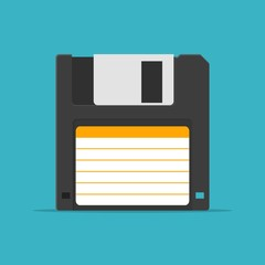 Black Floppy Disk icon in flat style isolated on blue background. HD diskette old data media.