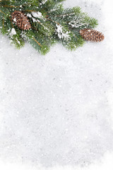 Christmas fir tree branch covered by snow card
