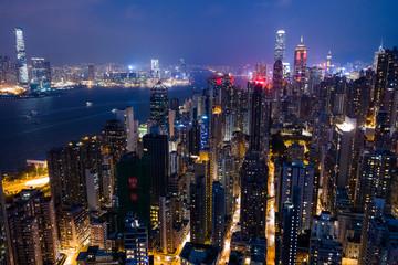 Hong Kong building at night