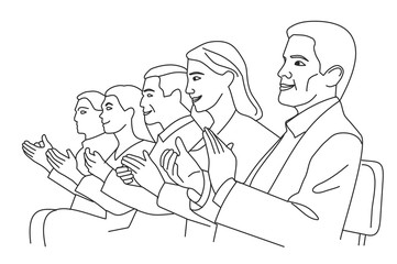 Man and woman applause. Vector black and white illustration
