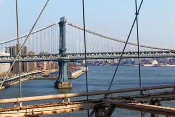 New York, USA - November 22, 2010: Washington bridge viewed from Brooklyn bridge
