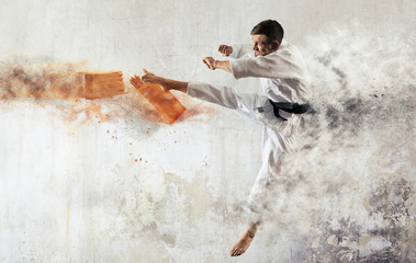 Karate man breaking with leg wooden board
