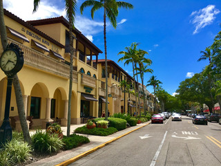Naples, Florida, USA - July 24, 2016: Luxury shops on 5th Avenue in Naples