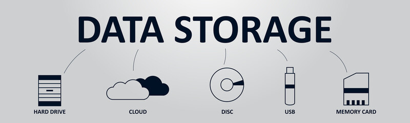 Data Storage Banner Concept. Storage Types from the Past and from the Future. Vector illustration with Icons and Text.