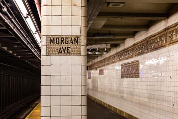 Brooklyn NY / USA - AUG 20 2018: Morgan Ave Subway Platform
