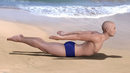 Yoga man in salabhasana or locust pose on a sandy beach. Horizontal 3d render.