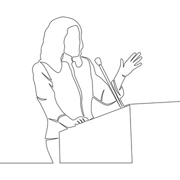 continuous line drawing business woman speaker