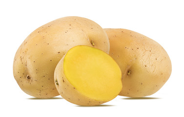 Fresh potato isolated on white background  with clipping path