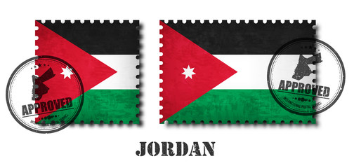 Jordan or Jordanian flag pattern postage stamp with grunge old scratch texture and affix a seal on isolated background . Black color country name with abrasion . Square and rectangle shape . Vector