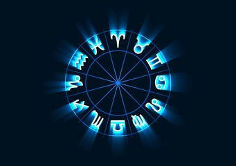Vector illustration of glowing astrology zodiac signs in circle.