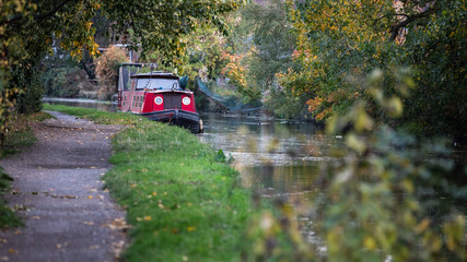 Autumnal landscape with an old boat