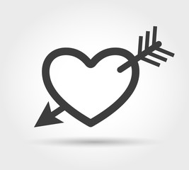 Heart with arrow icon. Cupid target vector symbol
