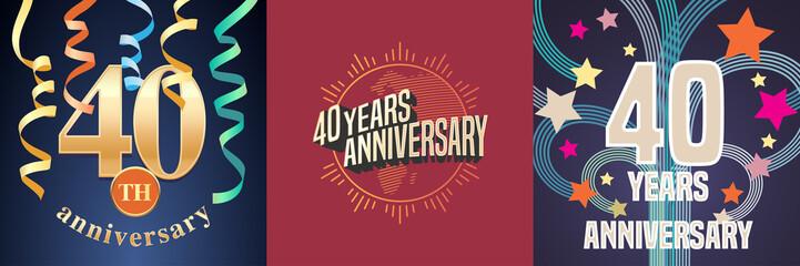 40 years anniversary celebration set of vector icons, logo.