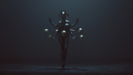 Sexy Multi-Armed Devil Woman with Floating Skulls in a foggy void 3d Illustration 3d render