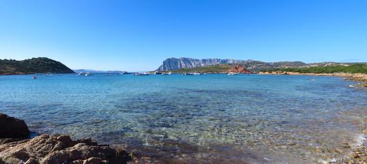 Panoramic view of the Mediterranean Sea at Capo Coda Cavallo, Sardinia, Italy