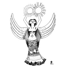 black and white beautiful goddess with wings and long dress is holding sun and mon