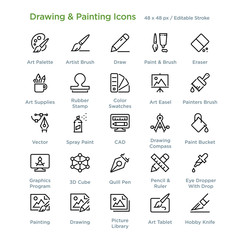 Drawing And Painting Icons - Outline styled icons, designed to 48 x 48 pixel grid. Editable stroke.
