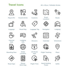 Travel Icons - Outline styled icons, designed to 48 x 48 pixel grid. Editable stroke.