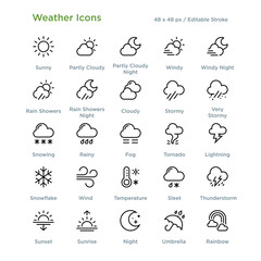 Fototapeta Weather Icons - Outline styled icons, designed to 48 x 48 pixel grid. Editable stroke.