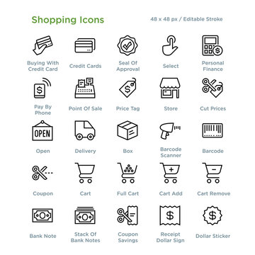 Shopping Icons - Outline styled icons, designed to 48 x 48 pixel grid. Editable stroke.