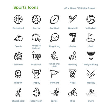 Sports Icons - Outline styled icons, designed to 48 x 48 pixel grid. Editable stroke.